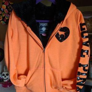 PINK furry Hoodie; Sequin Logo on sleeve